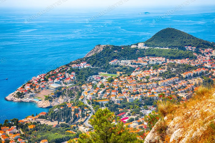 Aerial panoramic view of the old town of Dubrovnik from Srd mountain on a sunny day