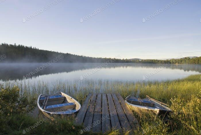Boats in lake tevsjon