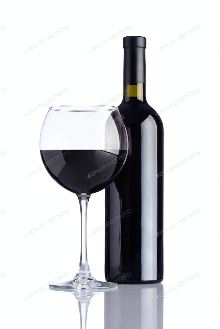 Wineglass and Bottle Wine on White Background