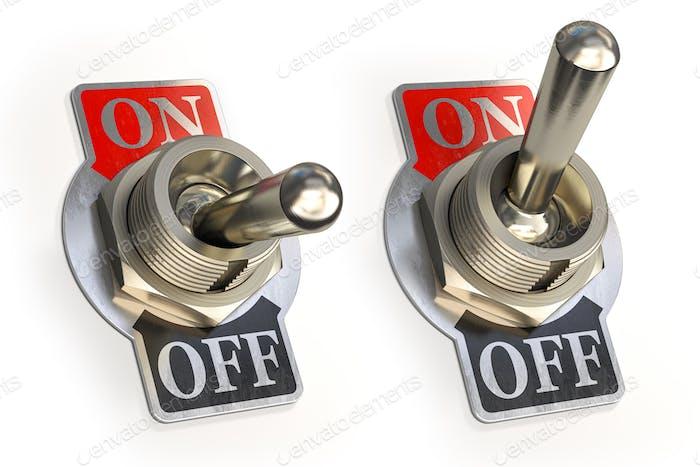Interruptor de palanca retro ON OFF aislado sobre fondo blanco.