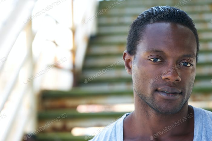 Closeup portrait of an attractive african american man