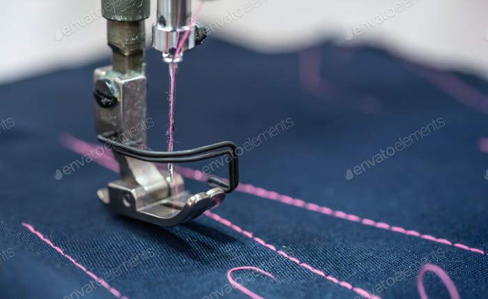 Thumbnail for Professional sewing machine close-up. Modern textile industry.