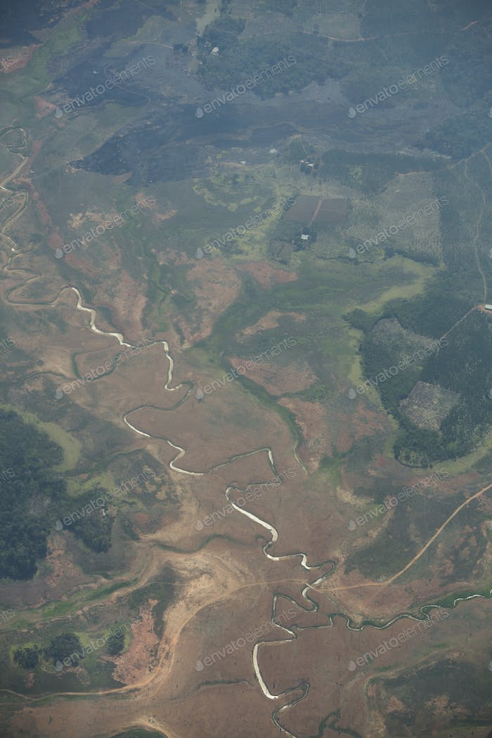 Curved river and forest in Canaima National Park, Venezuela.