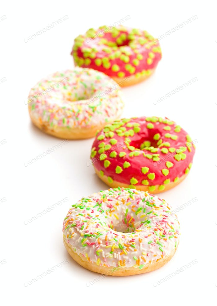 Sweet sprinkled donuts.