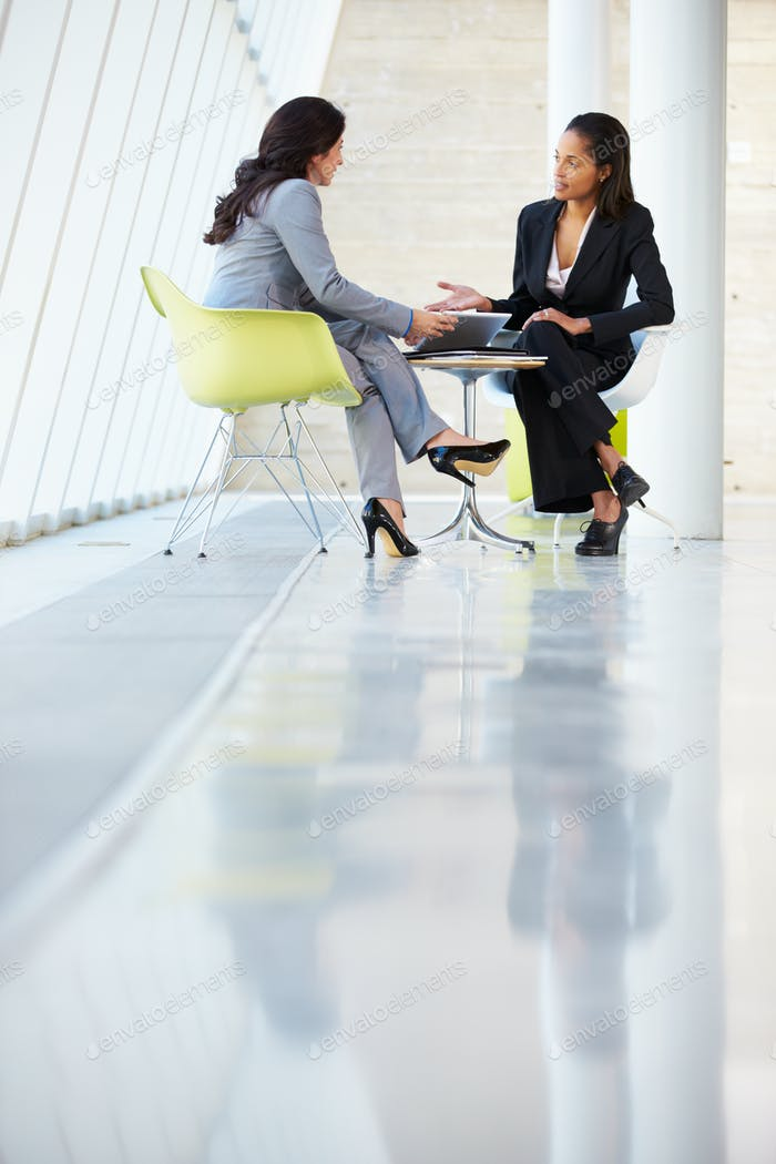 Two Businesswomen Meeting Around Table In Modern Office