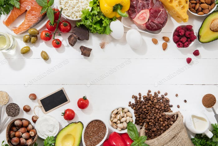 Ketogenic low carbs diet - food selection on white background