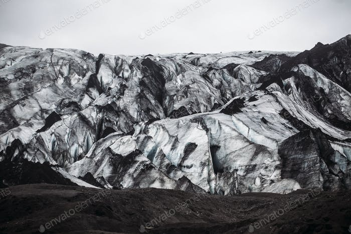 Glacier covered with volcanic ash in Iceland