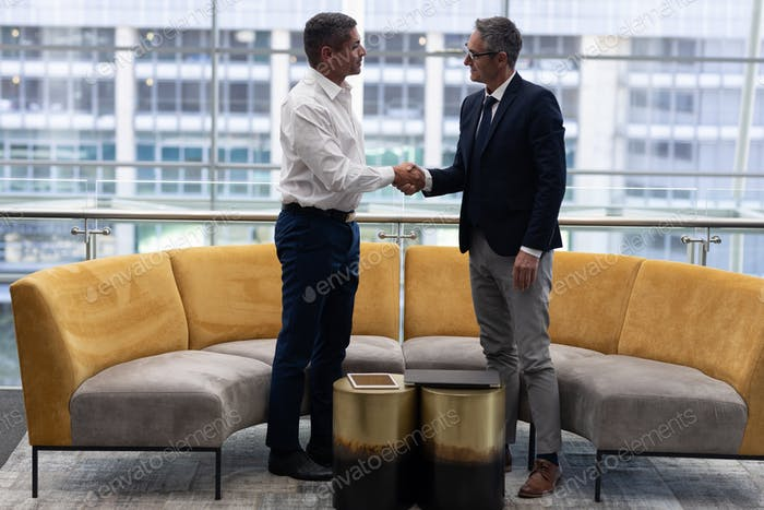 Front view of mature Caucasians business executives shaking hand standing in modern office