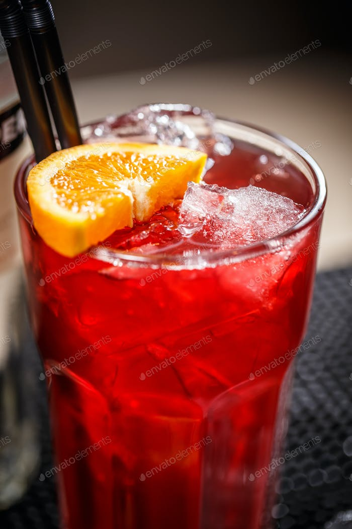 Cherry soda with ice