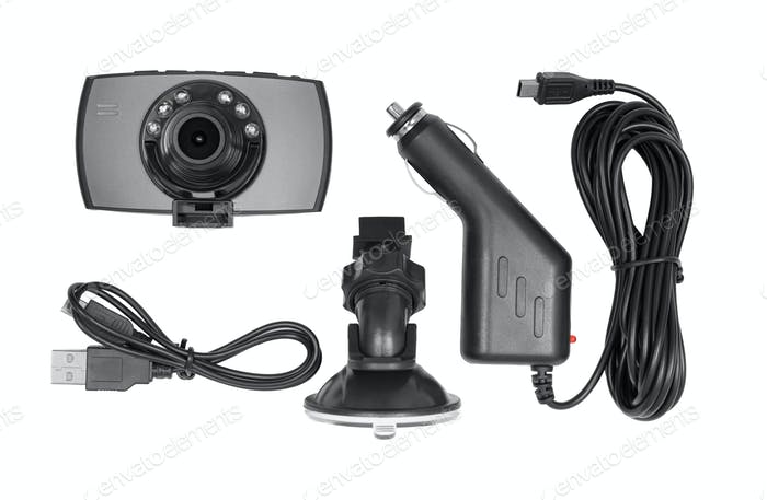 Dash cam kit isolated on white