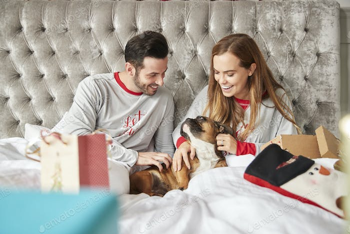 Couple In Bed At Home With Pet Dog Costume Opening Gifts On Christmas Day