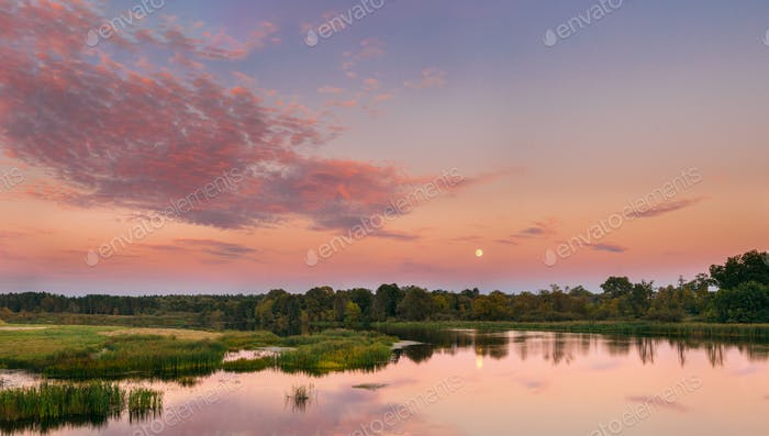River Landscape In Belarus Or European Part Of Russia In Sunset