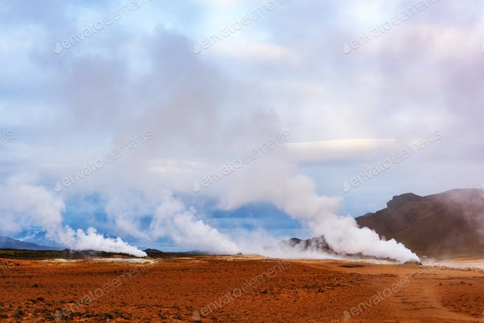 Smoking fumaroles on Hverarond valley