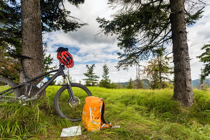 Mountain biking equipment in the woods, bikepacking