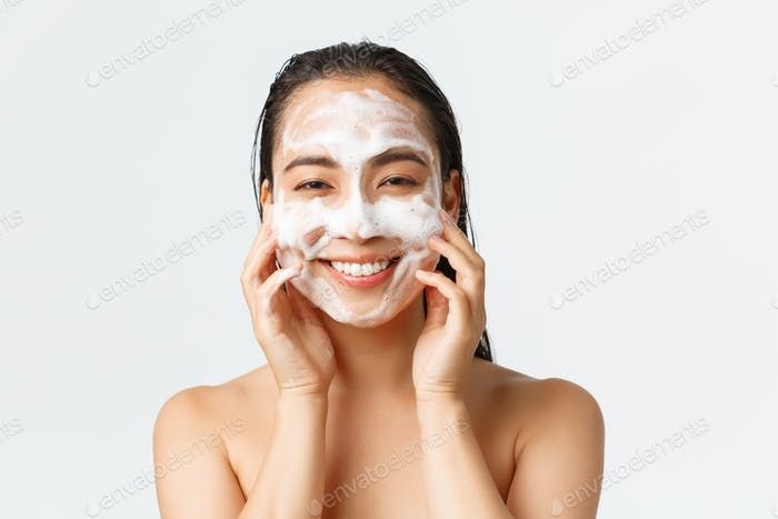 Skincare, women beauty, hygiene and personal care concept. Close-up of beautiful asian female
