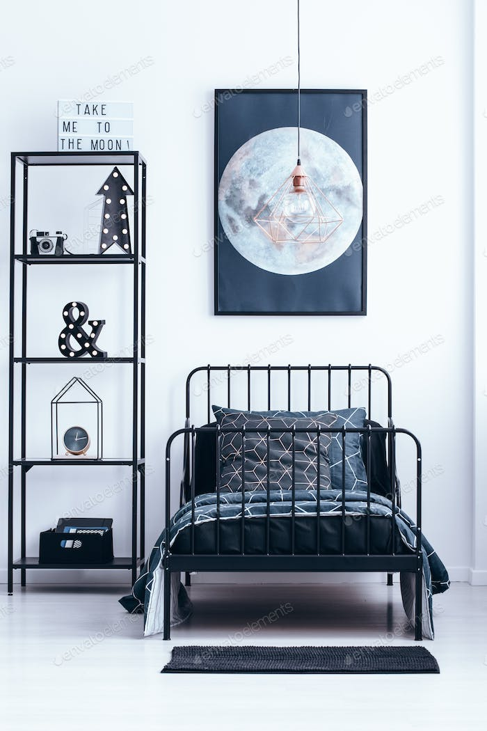 Moon poster in bedroom interior