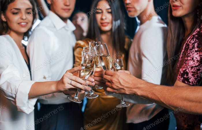 Knocking glasses. Group of cheerful friends celebrating new year indoors with drinks in hands