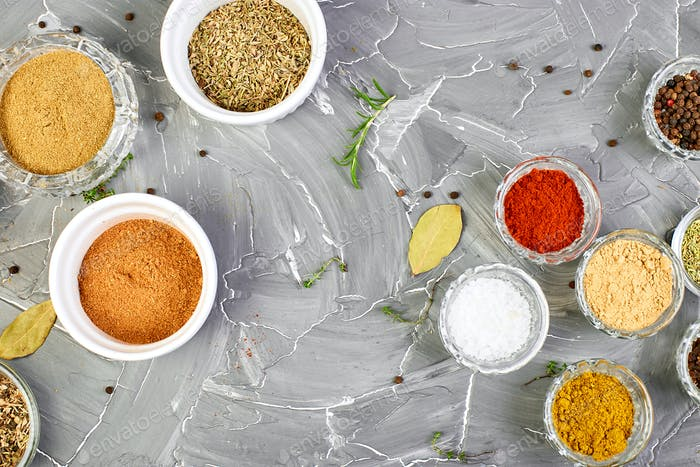 Seasoning background. Spice and herb seasoning with fresh and dried