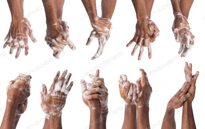 Set of black man washing hands isolated on white background