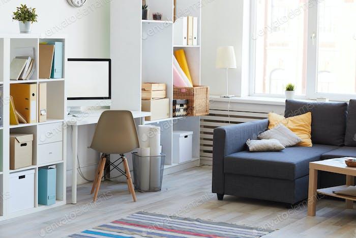 Wohnung Interieur in Weiß und Blau