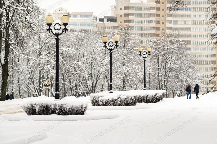 Snow-covered park in the center of Minsk. Belarus