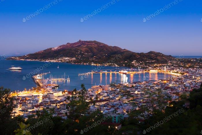 Aerial night view of Zakynthos city in  Zante island, in Greece