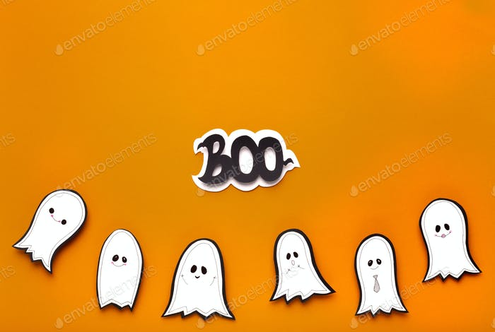 Happy Halloween background with ghosts and text on orange