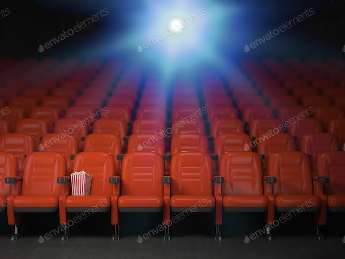 Cinema and movie theater concept background. Empty rows of red s