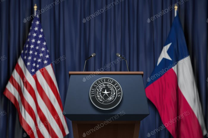 Press conference of governor of the state of Texas concept.