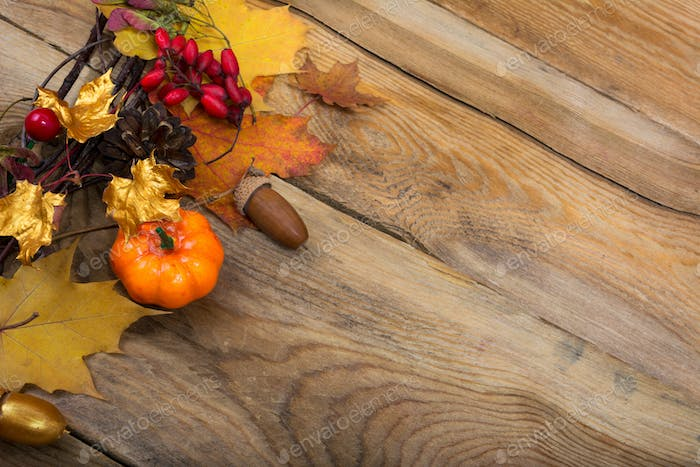 Thanksgiving background with pumpkin and golden maple leaves wre