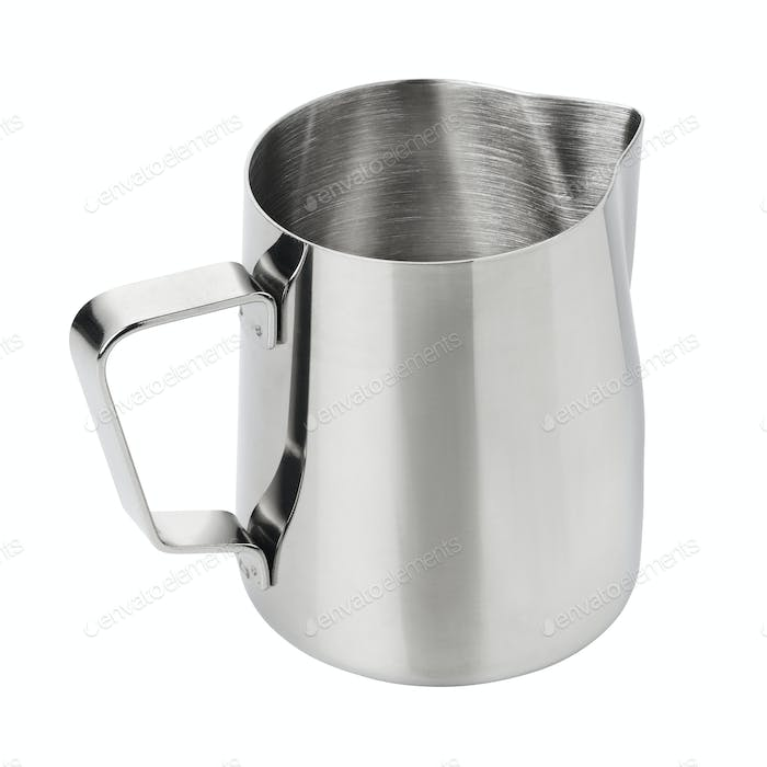 Stainless steel milk pitcher jug isolated