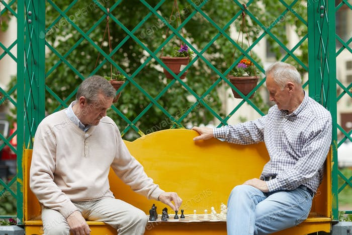 Playing chess in garden