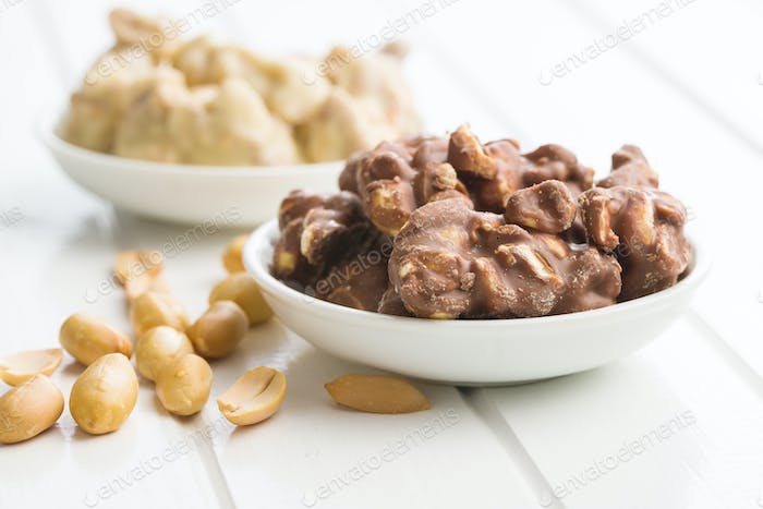 Peanuts covered chocolate.