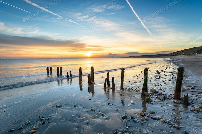 Stunning sunrise at Sandsend Beach