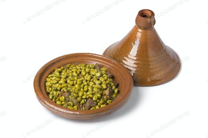 Marokkanische Mahlzeit mit Rindfleisch und Bohnen