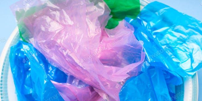 Colorful pastic bags texture closeup