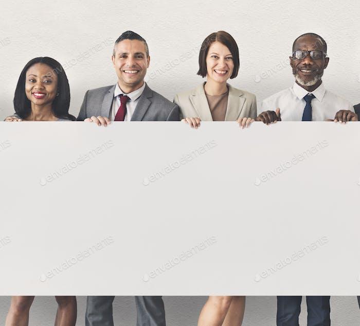 Business People Holding Information Board Konzept