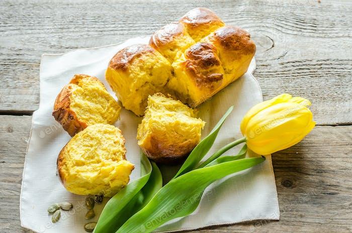 Kürbis Brioche (französisches Brot)