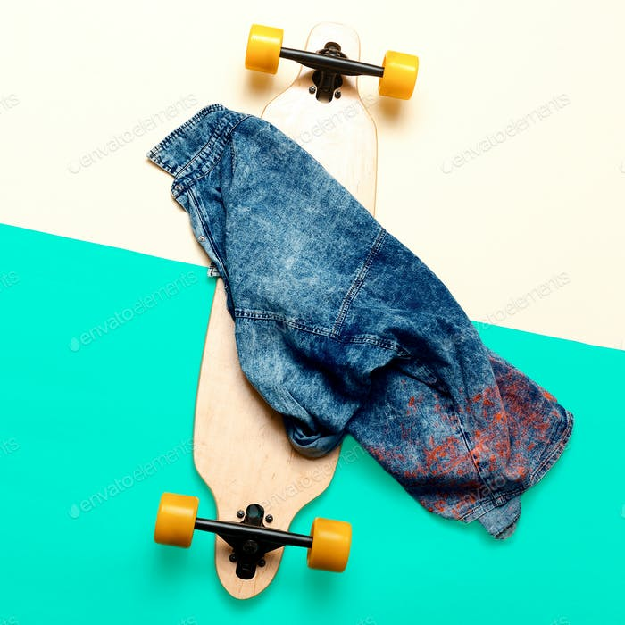 Skateboard and jeans. Urban fashion. minimal design