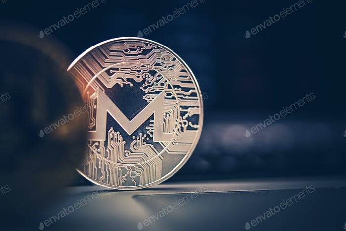 Monero Cryptocurrency Münze Nahaufnahme.