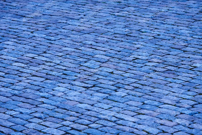 Antique blue tone paving stone. Copyspace. Horizontal