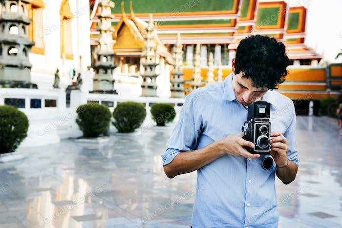 Fotograf Traveler Capture Portrait Konzept