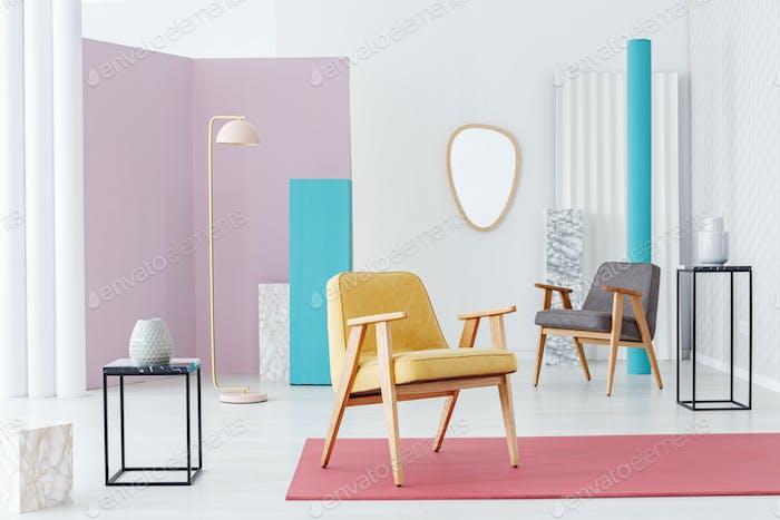 Pastel retro living room interior