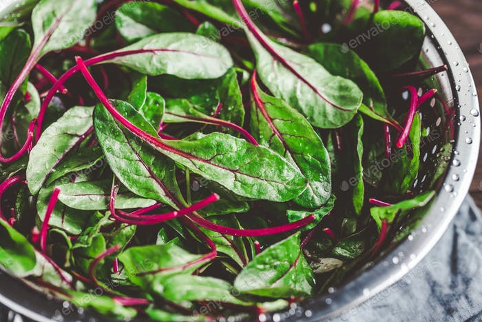 Fresh washed swiss chard leaves in a metal colander on a kitchen table