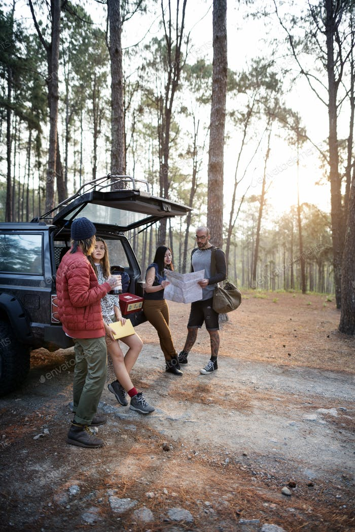 People Friendship Hangout Traveling Camping Concept
