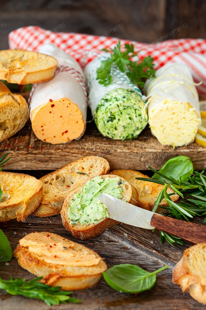 Herb butter with baguette