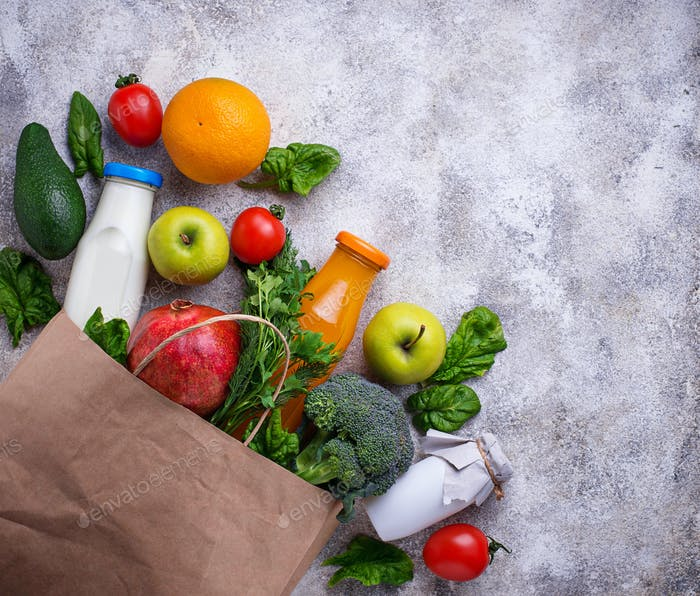 Fresh farm products in paper bag.