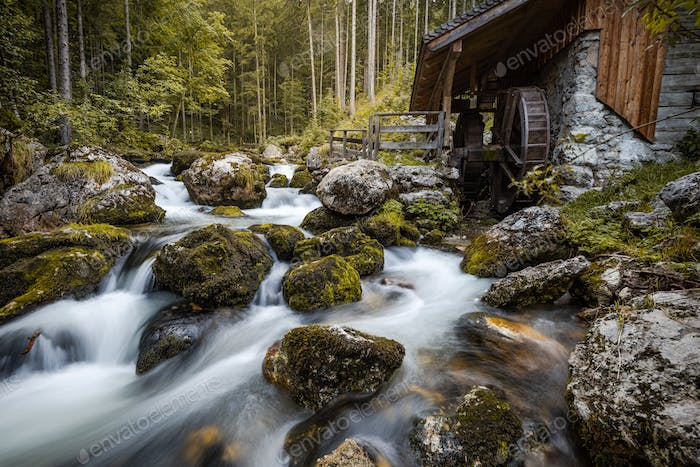 Wooden Mill at Creek by Gollinger Waterfall in Austria