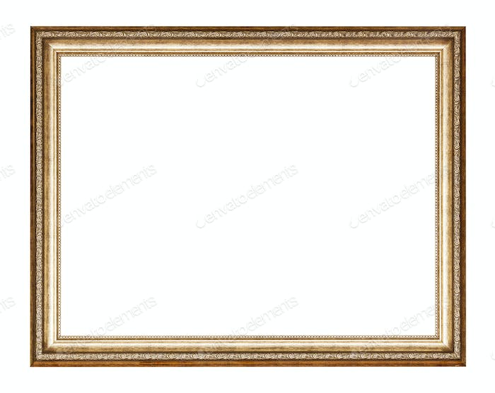 empty golden carved wooden picture frame