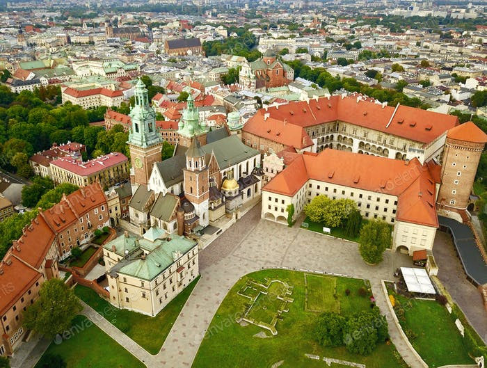 Aerial photo from the heights of Wawel Castle in the historic ce